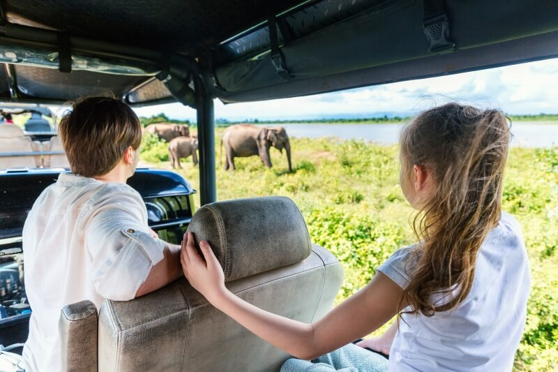 Touristen in Sri Lanka nationaal park